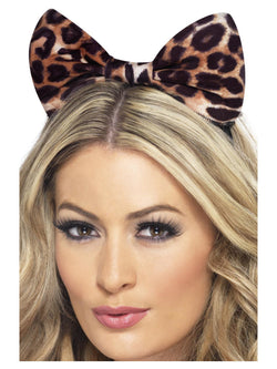 Brown and Black Cheetah Bow on Headband