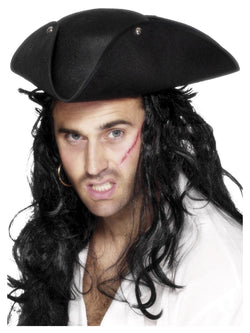 Pirate Tricorn Black Hat with Studs