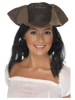 Leather Look Brown Pirate Hat