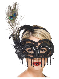Colombina Lace Eye Mask, on a Headband - The Halloween Spot