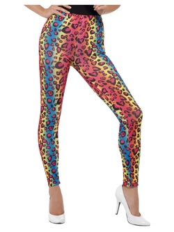 Women's Neon Leopard Print Leggings - The Halloween Spot