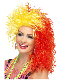 80's Red and Yellow Fun Girl Crimp Wig