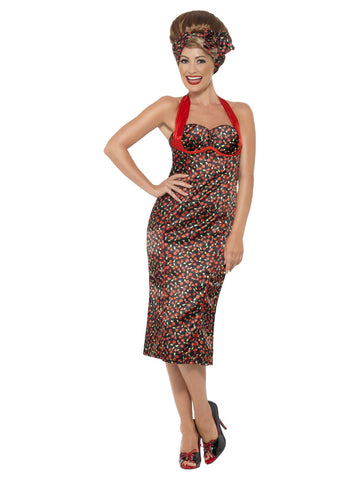 Women's 1950s Rockabilly Costume, Cherry Print