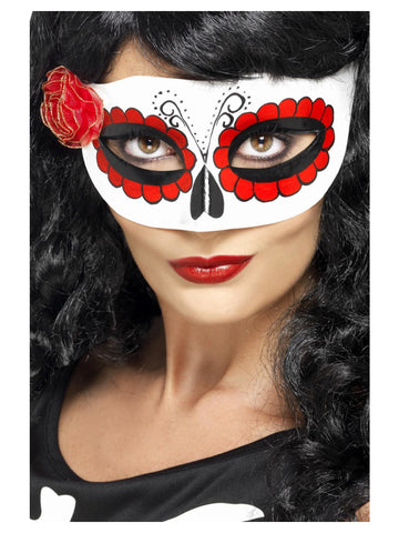 White and Red Mexican Day Of The Dead Eyemask