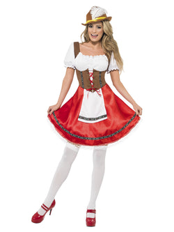 Women's White and Red Bavarian Wench Costume