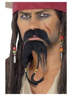 Black Colour Pirate Facial Hair Set