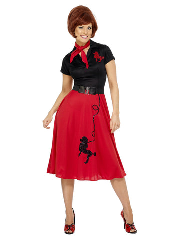 Women's 50's Style Red and Black Poodle Costume
