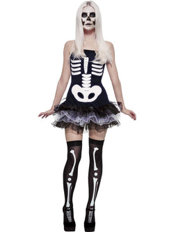 Women's Fever Skeleton Black Costume Set