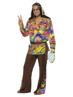 Men's Plus Size Psychedelic Hippie Man Costume - The Halloween Spot