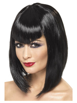 Black Vamp Short Wig with Fringe