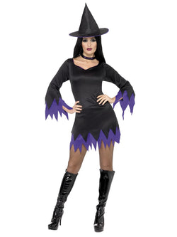 Women's Black and Purple Witch Costume Set
