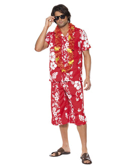 Men's Hawaiian Hunk Red Colour Costume