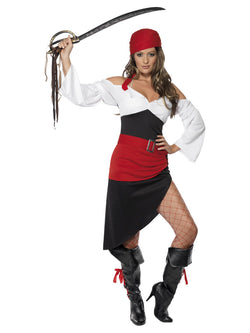 Women's Sassy Pirate Wench Costume with Skirt - The Halloween Spot