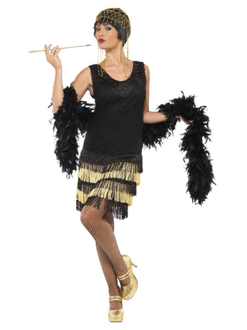 Women's 1920s black Gatsby dress