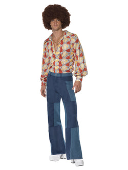 Men's 1970s Patchwork Flares, Denim Look - The Halloween Spot