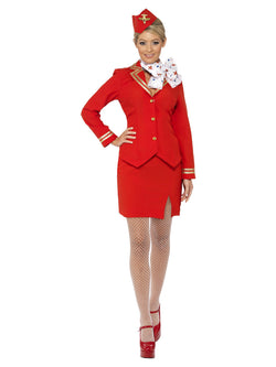 Women's Trolley Dolly Costume red colour