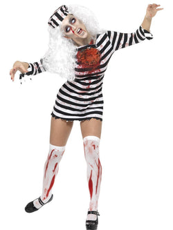 Women's Zombie Convict Black and White Costume