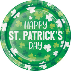 St Patrick's Day Party Irish Shamrocks Luncheon Plate, Happy 7 Inch 8 Ct. - The Halloween Spot