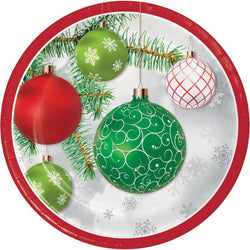 Christmas Party Upscale Ornaments 9 Inch Dinner Plate 8 Ct. - The Halloween Spot