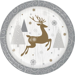 Christmas Party Opulent Reindeer 10 Inch Banquet Plate 8 Ct.