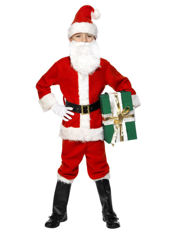 Boy's Deluxe Santa Costume & Beard