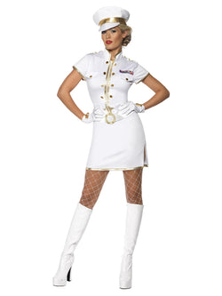 High Seas Captain Costume, White, Dress, Hat and Gloves