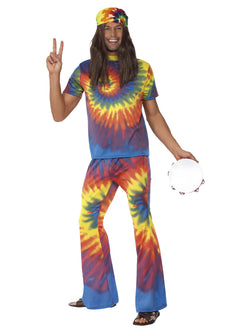Unisex 1960s Tie Dye Top and Flared Trousers - The Halloween Spot