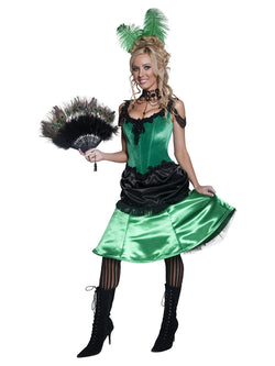 Authentic Western Saloon Girl Costume, Green, with Dress and Hair Clip