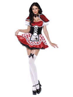 Fever Deluxe Red Riding Hood Costume, Red, Dress with Mock Corset and Apron, Cape and Sleeves