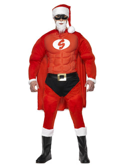 Men's Super Fit Santa Costume & Beard
