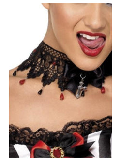 Gothic Ribbon and Lace Beaded Necklace - The Halloween Spot