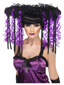 Gothic Emo Wig, Purple & Black, Curly