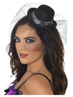 Black Fever Mini Top Hat on Headband