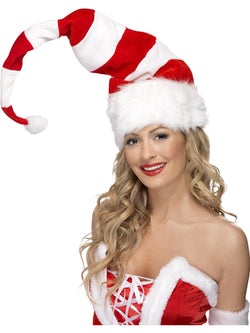 Red and White Striped Santa Hat