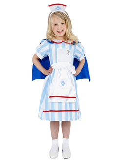 Blue colour Kid's Vintage Nurse Costume