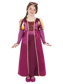 Purple coloured Kids Tudor Girl Costume