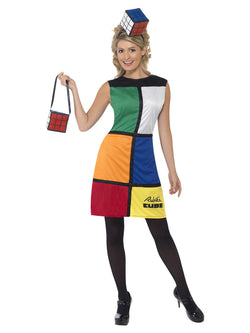 Women's Rubik's Multi-coloured Cube Costume