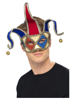 Red & Blue Venetian Musical Jester Eyemask
