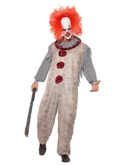 Vintage Clown Costume, Grey & Red, with Jumpsuit & Neck Ruffle