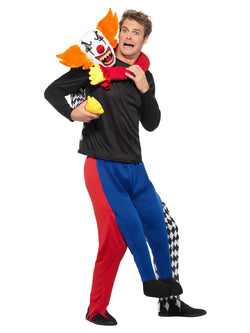 Piggyback Kidnap Clown Costume, Multi-Coloured, with One Piece Wraparound Suit with Mock Legs