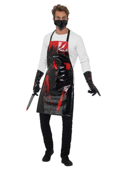 Bloody Surgeon/ Butcher Kit, Black & Red, with Apron, Gloves & Mask