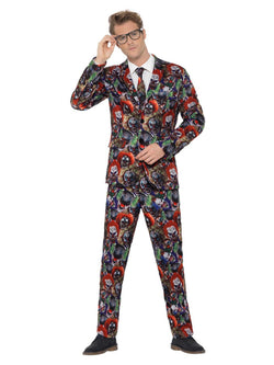 Evil Clown Suit, Multi-Coloured, with Jacket, Trousers & Tie