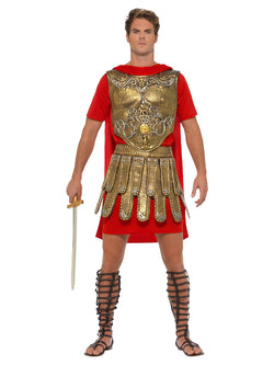 Economy Roman Gladiator Costume, Gold & Red, with Tunic, EVA Chest Plate & EVA Skirt