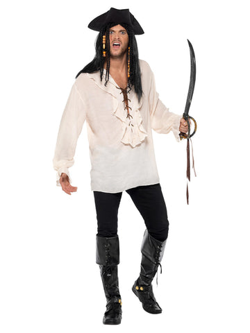 Pirate Shirt, Ivory, with Lace Up Front