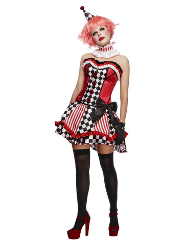 Women's Fever Deluxe Clown Cutie Costume, with Corset