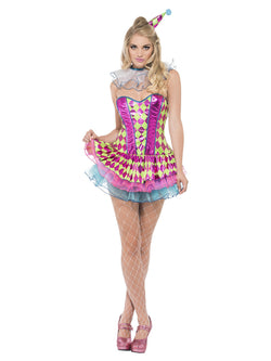 Women's Neon Harlequin Clown Costume