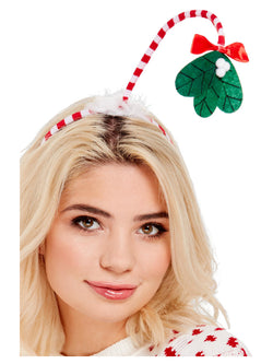 Red and White Mistletoe Kisses Headband