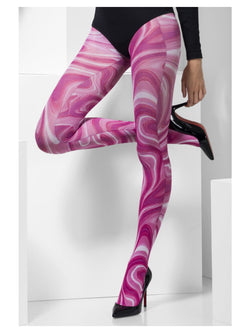 Pink colour Marble Pattern Opaque Tights