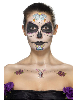 Day of the Dead Face Tattoo Transfers Kit with gem stickers - The Halloween Spot
