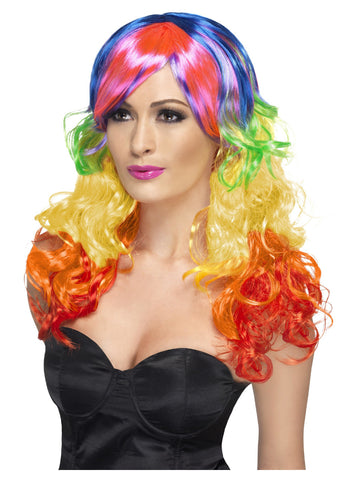 Multi-Coloured Long Rainbow Curl Wig